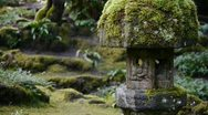 Stock Video Footage of Stone Lantern In Japanese Garden