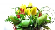 Stock Video Footage of rotating bouquet of spring tulips flowers with green leaves