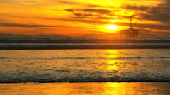 Offshore Oil Rig Sunset Stock Footage