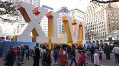 Indianapolis Super Bowl roman numerals downtown - stock footage