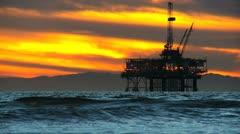 Oil Platform Cranes Offshore Dusk Stock Footage