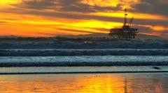 Silhouette Raised Platform Oil Rig Stock Footage