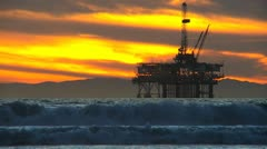 Industrial Oil Production Coastal Facility Stock Footage