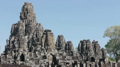 Bayon, famous buddhist temple in Angkor Thom, Cambodia, Asia Stock Footage