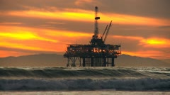 Offshore Oil Production Platform Stock Footage