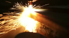 Metal cutting with gas welding Stock Footage
