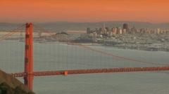 City of San Francisco and Golden Gate Bridge Sunset Stock Footage