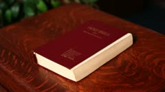 Stock Video Footage of Bible on a Podium