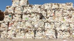 Recycling Paper center environment Ecologic waste garbage forklift Carton Stock Footage