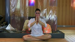 Woman in yoga position Stock Footage
