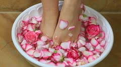 Woman's feet in a bowl Stock Footage