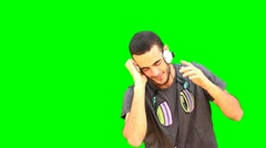 Green Screen person Dance dancer dancing music headphones hear fashion dj Stock Footage