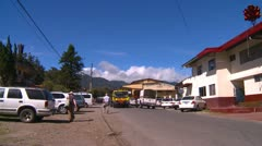 Downtown fire station, Boquete Panama, pan reveal Stock Footage