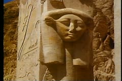 The Valley of the Kings, Queen Hatshetsup temple, Hathor figure 108121 Stock Footage