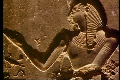 A detail from a temple, The Valley of the Kings, carved from Basalt 108141 Stock Footage