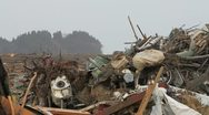 Japan Tsunami Aftermath- Pile Up of Wreckage Stock Footage