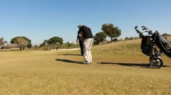 Golf golfer win winner boss competition pleasure relaxing weekend joy Stock Footage