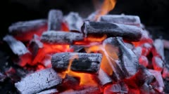 Charcoal burning flames - stock footage