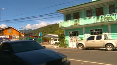 Boquete Panama, town centre pan with light traffic Stock Footage