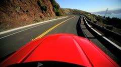 Luxury Road Trip Approaching Golden Gate Bridge Stock Footage