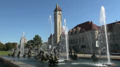 Missouri St Louis fountain and Union Station s Stock Footage