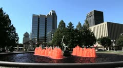 Missouri St Louis fountains and statue c Stock Footage