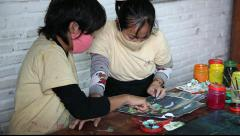 Deaf Artists painting at a Cambodian art school Stock Footage
