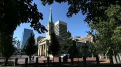 St Louis old cathedral and city Stock Footage