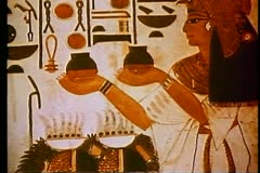 A  tomb painting in a Pharaonic tomb, The Valley of the Kings 108130 Stock Footage