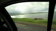 Passing Irish Countryside through Car Window GFHD Stock Footage