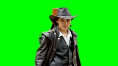 Cowboy shoots from gun greenscreen - stock footage