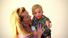 Beautiful mother with cute little boy Stock Footage