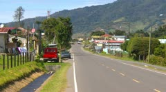 Traffic in Cerro Punta valley, small agricultural town Stock Footage