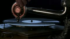 Antique Phonograph, ms 02 Stock Footage