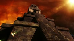 Maya Pyramid Dramatic Sunset 06 Stock Footage