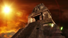Maya Pyramid Dramatic Sunset 11 Stock Footage