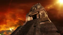 Maya Pyramid Dramatic Sunset 12 Stock Footage