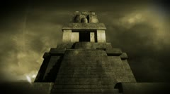 Maya Pyramid Dramatic Sunset 14 Stock Footage