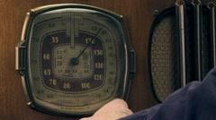 Vintage radio tuned, male ecu Stock Footage