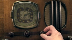Vintage radio tuned, male Stock Footage