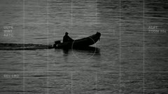 Suspect boat observation bw Stock Footage