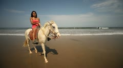 Woman, Horse, Beach Stock Footage