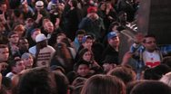 Stock Video Footage of NY Giants Football fans cheering in Times Square after SuperBowl 2012 Win