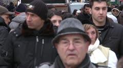 Crowd, pedestrians, cars. Stock Footage