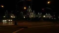 British Columbia Parliament Building Night Time Lapse Stock Footage