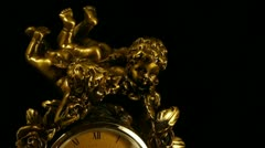 Bronze clock, time-lapse with zooming Stock Footage