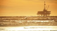 Stock Video Footage of Offshore Oil Drilling Rig