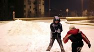 Happy Children Playing in Snow Stock Footage