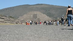 Teotihuacan pyramid of the moon - stock footage
