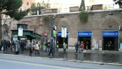 People waiting for bus in front of Colosseum metro station Stock Footage